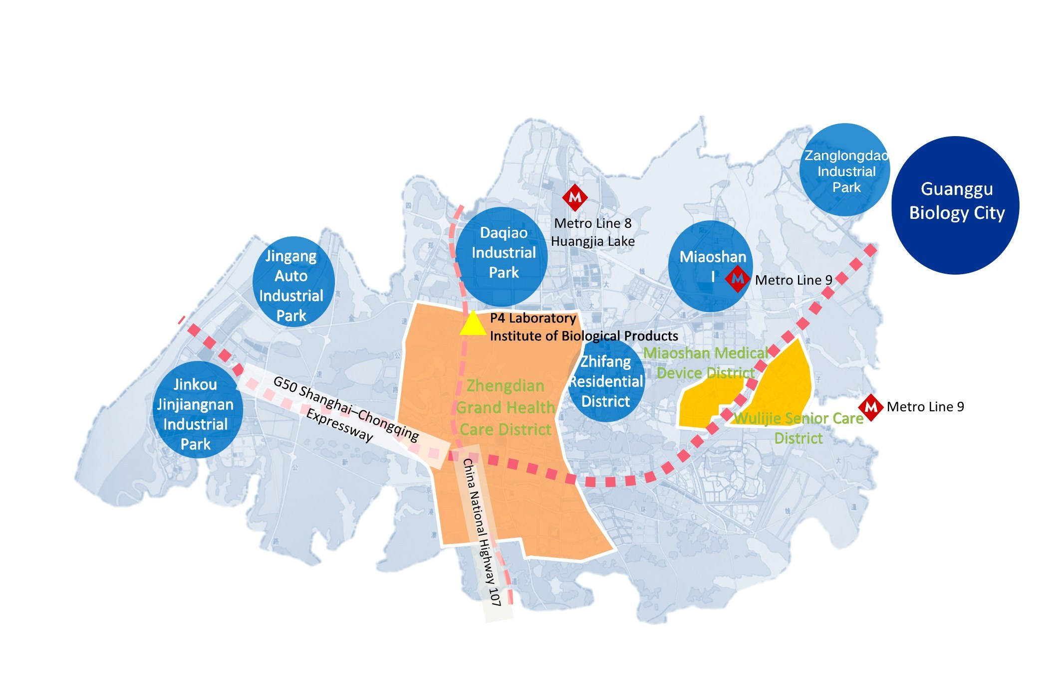 Optics Valley Subway Map For Wuhan China.Wuhan Lays Out Construction Of Guanggu Nanda Health Industrial Park